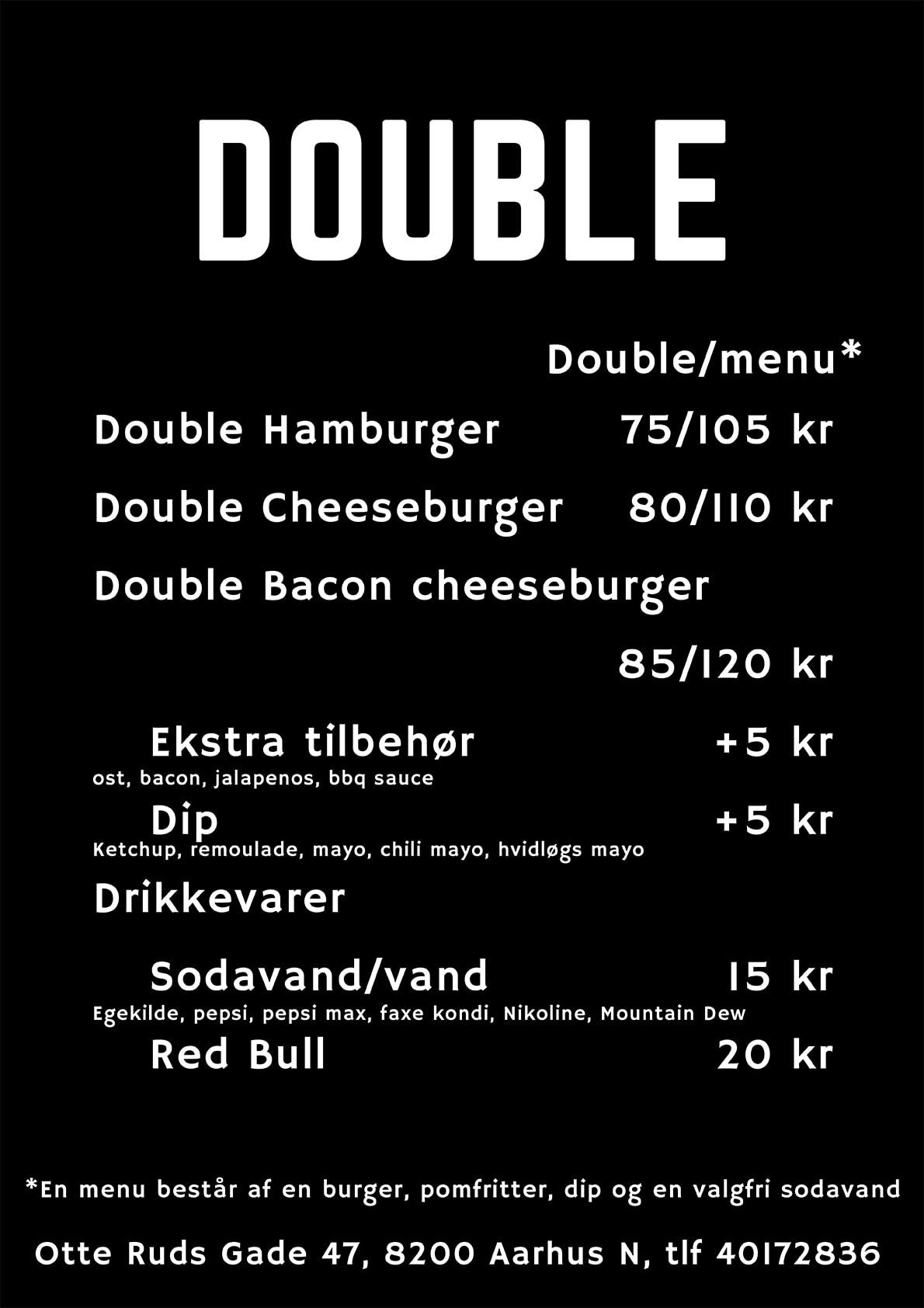 Dobbelt Burger Menu- Kødstadens Burger Joint - Trøjborg - Aarhus
