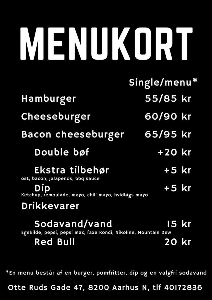 Menukort - Kødstadens Burger Joint - Trøjborg - Aarhus
